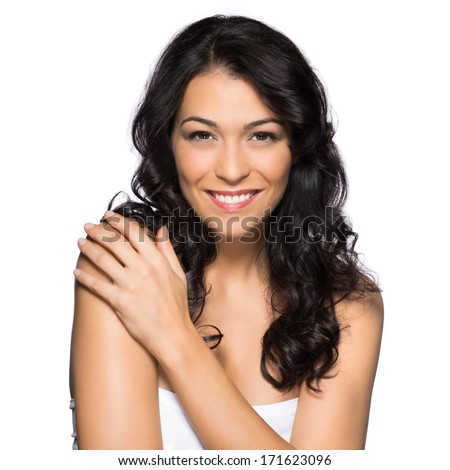 Beautiful Woman Looking at Camera Isolated On White Background - stock photo