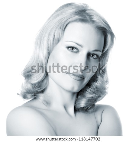 beautiful woman looking at camera, mid adult female face and shoulders closeup toned blue, isolated on white background