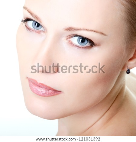 beautiful woman looking at camera, mid adult female face closeup, isolated on white background - stock photo