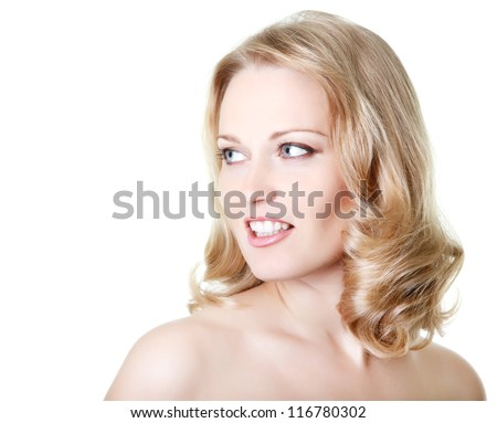 beautiful woman looking right at copy space, mid adult female face and shoulders closeup, isolated on white background