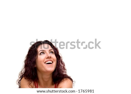 Beautiful woman, looking surprised, smiling. Copy space. - stock photo