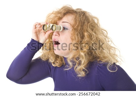 Beautiful Woman Looking Through Binoculars. - stock photo