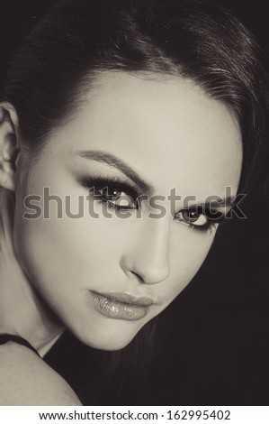Beautiful woman make-up. and Beauty. - black and white - stock photo