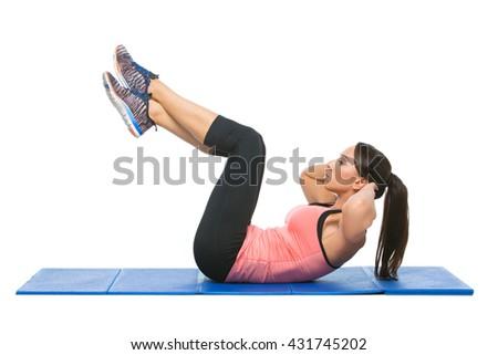 Beautiful woman making sport exercise - stock photo