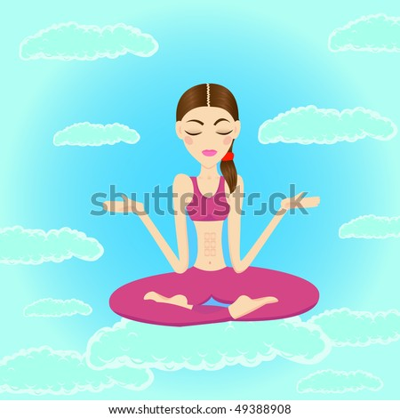 Beautiful woman meditating and relaxing in the sky