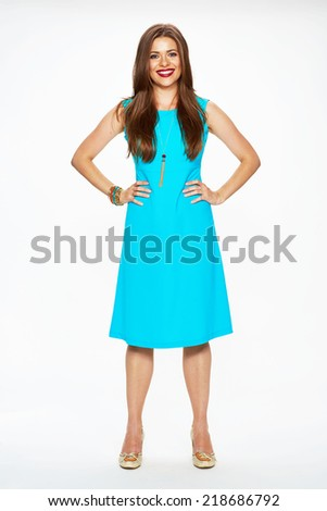 beautiful woman model in cocktail blue dress full body portrait. white background - stock photo