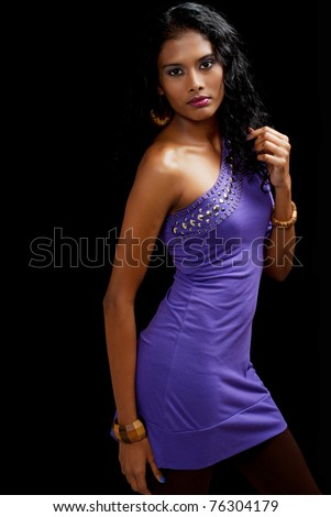 beautiful woman of east indian ancestry - stock photo