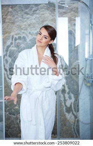 Beautiful woman on a spa day, bathroom - stock photo