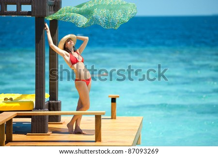 beautiful woman on beach - stock photo