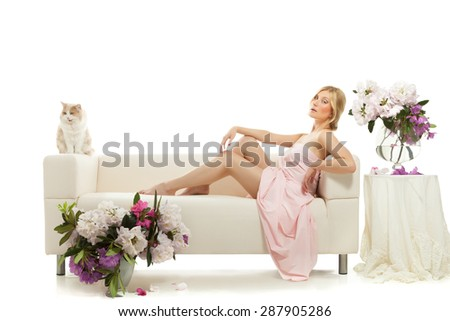 beautiful woman on bed in the morning - stock photo