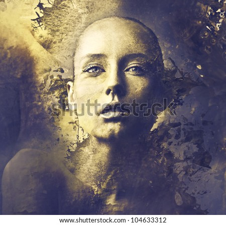 Beautiful woman on golden background - stock photo