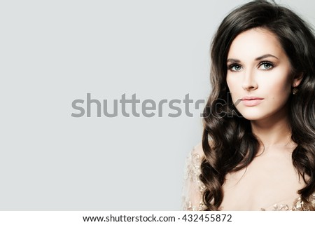 Beautiful Woman on Gray Background with Copy space for Text