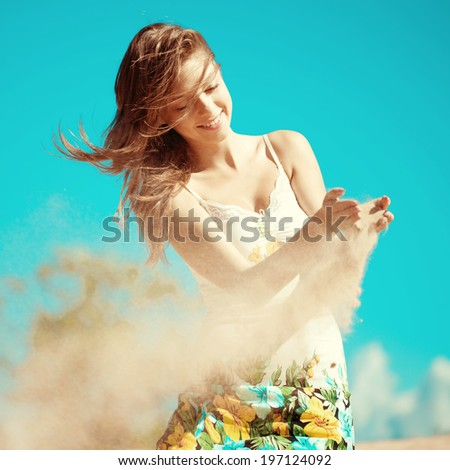 Beautiful woman on the beach. Stylish beautiful young smiling girl on the beach. Tourism holiday. - stock photo