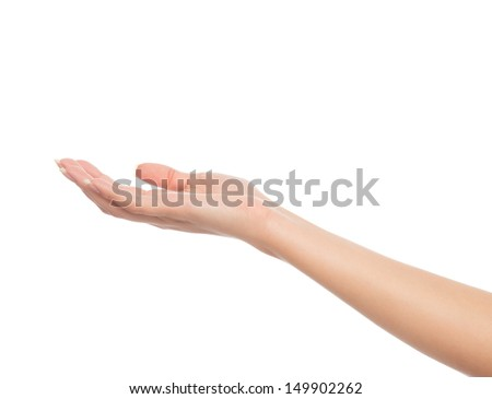 Beautiful woman open hand sign with french manicure nails isolated on a white background - stock photo