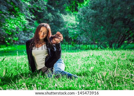 beautiful woman outdoor spring time