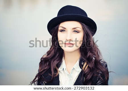 Beautiful Woman Outdoors. Serenity and Beauty concept - stock photo