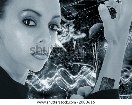 Beautiful woman over abstract futuristic style background.