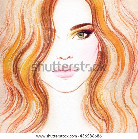 Beautiful woman portrait. Abstract fashion watercolor illustration