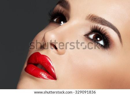 Beautiful woman portrait, beauty on dark background ,close up   - stock photo