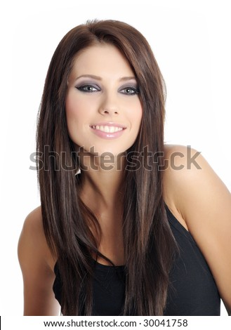 Beautiful woman portrait. black style - stock photo
