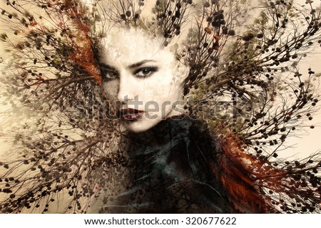beautiful woman portrait  double exposure with tree - stock photo