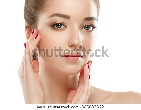 Beautiful woman portrait face studio isolated on white  - stock photo