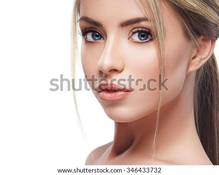 Beautiful woman portrait face with beautiful blond hair studio on white - stock photo