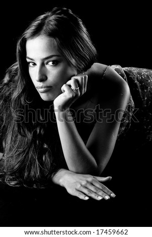 beautiful woman portrait in black and white - stock photo