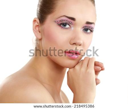 beautiful woman, portrait isolated on white background - stock photo