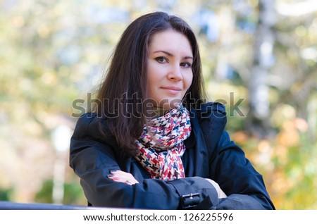 beautiful woman portrait outdoor - stock photo