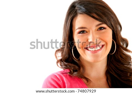 Beautiful woman portrait smiling ? isolated over a white background - stock photo