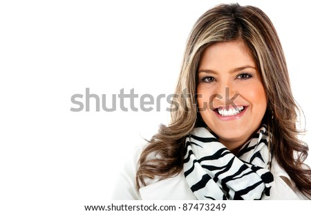 Beautiful woman portrait smiling - isolated over a white background - stock photo