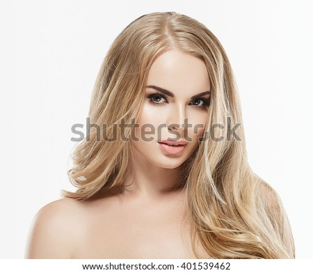 Beautiful woman portrait with fresh daily make-up blonde hair and healthy skin - stock photo
