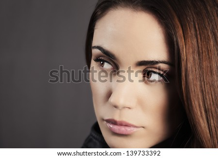 beautiful woman portrait with fresh daily makeup - stock photo