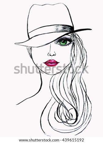 Beautiful woman portrait with hat. Watercolor  fashion illustration - stock photo