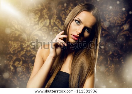 beautiful woman portrait with long healthy hair against retro background