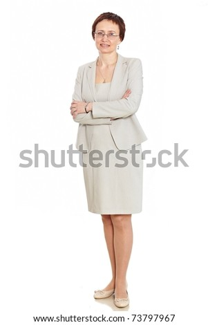 Beautiful woman posing in suit and glasses Isolated over white background - stock photo