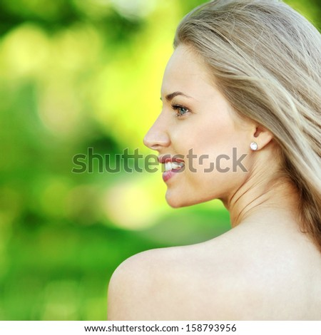 Beautiful woman profile  - stock photo