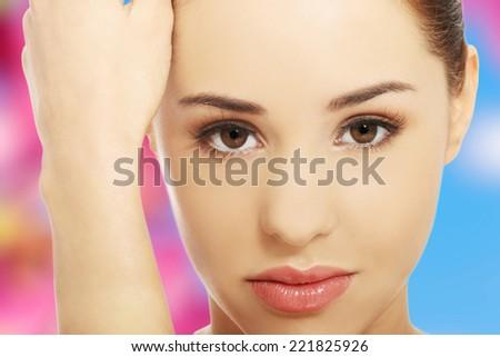 Beautiful woman ready for spa treatment - stock photo