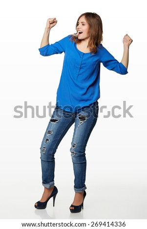 Beautiful woman really happy, over a white background - stock photo
