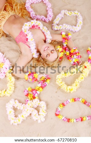 Beautiful woman relax in hawaii style suit