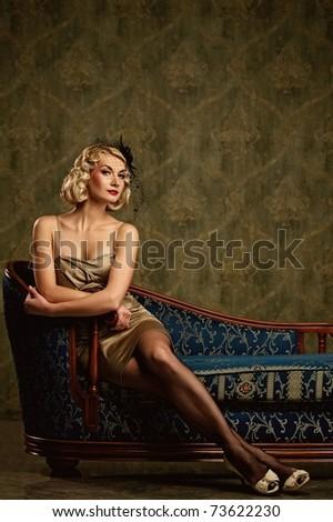 Beautiful woman retro portrait - stock photo