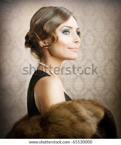 Beautiful Woman.Retro Styled Soft Portrait - stock photo