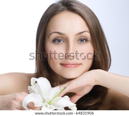 Beautiful Woman's Face.Clear fresh skin - stock photo