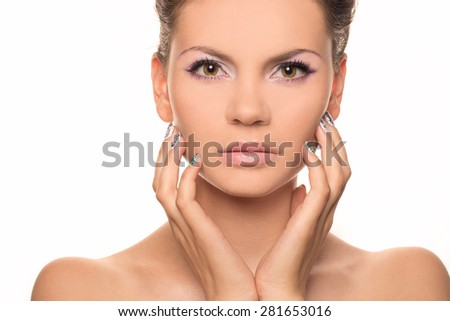 Beautiful woman's face with tan. clean skin - isolated on white. Portrait of attractive caucasian smiling woman brunette isolated on white studio shot - stock photo