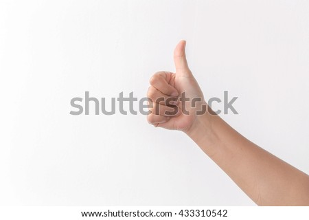 Beautiful woman's hand showing one or like count isolated on white background.  - stock photo