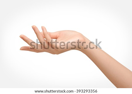 Beautiful woman's hands isolate is on white background - stock photo