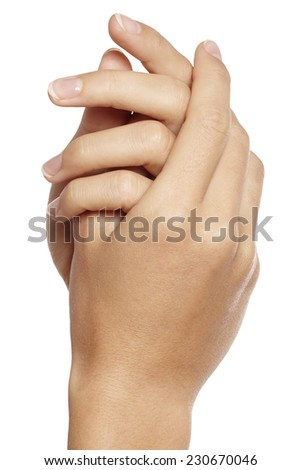 Beautiful woman's nails with perfect french manicure on white background. Care for female hands. Hand in hand - stock photo