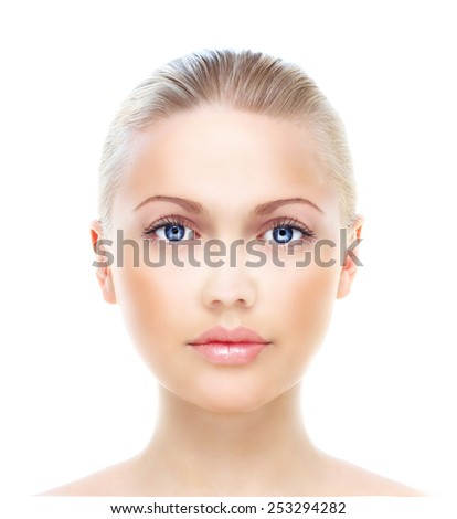 Beautiful woman's portrait isolated on white - stock photo