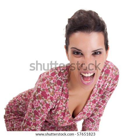 beautiful woman, screaming, isolated on white background. Studio shot - stock photo